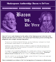 Shakespeare Authorship: Bacon vs DeVere